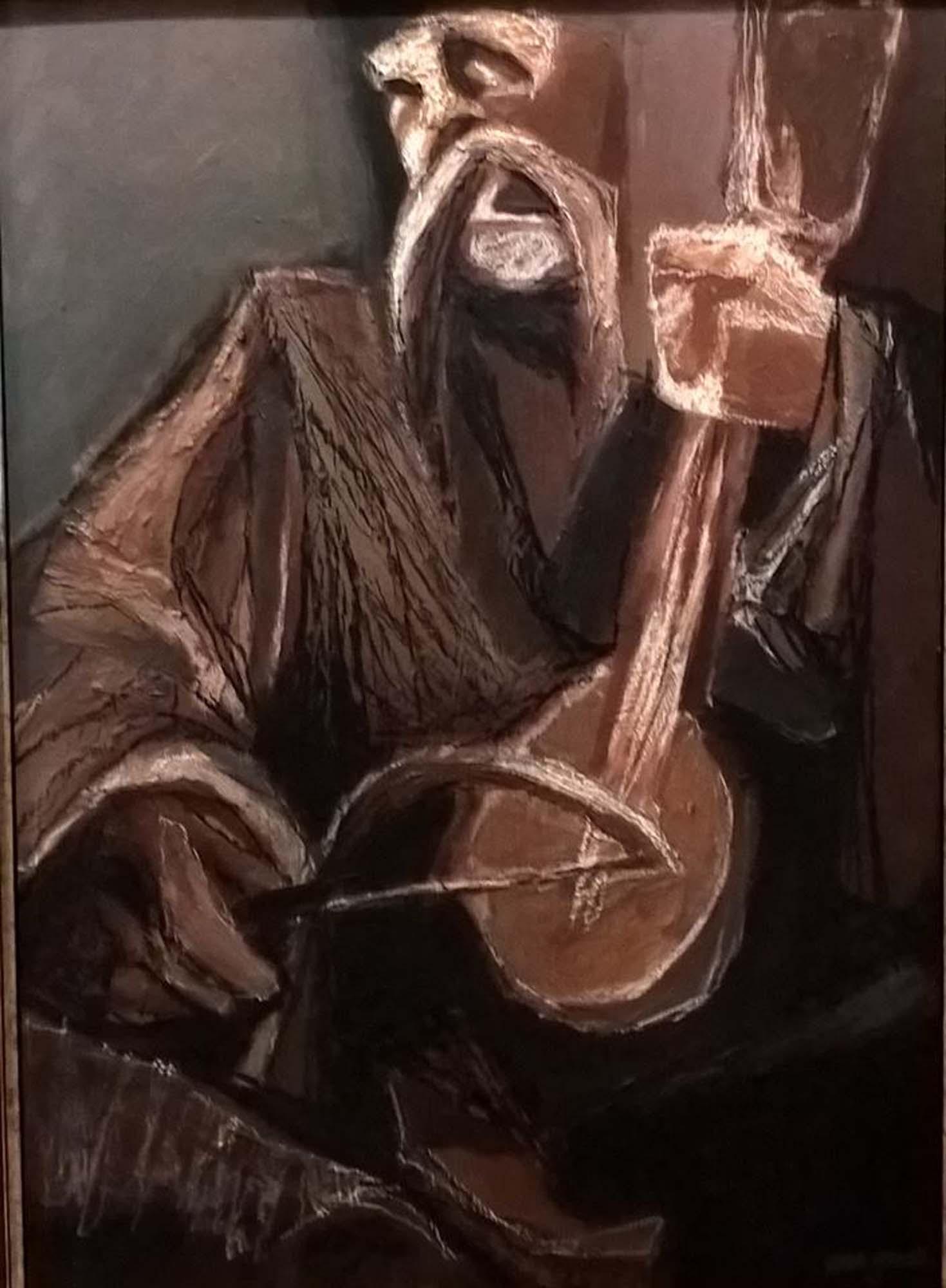 Гуслар;50х70; акрилик, угљен и креда на картону; 2017